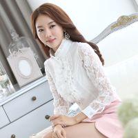 韩国官网秋装新款女装女式衬衫长袖蕾丝衫镂空大码打底衫拼接花边