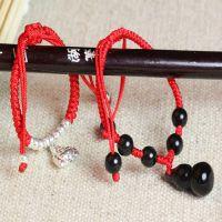 正品 天然黑曜石葫芦手链 红绳水晶 保平安孩子款