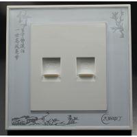 专业生产电话插座 太阳电工双电话插座两个接口可暗装 适用于86型墙壁座壳 印花面板美观大方