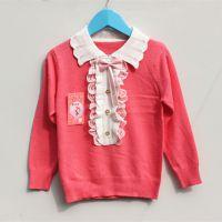 童针织衫新款甜美蝴蝶结纯棉开衫套头女童针织衫8355