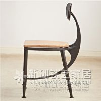 创意月牙形靠背椅子 酒吧餐厅铁艺休闲吧椅 可定做各种规格