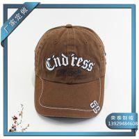 纯棉洗水广告帽 做旧绿色环保绣花棒球帽 东莞帽厂专业定做帽子