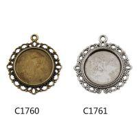 韩国热销 diy复古可挂韩国饰品配件 锌合金圆形20mm花型底托