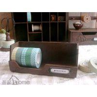 批发zakka杂货家居收纳盒 日式桌面创意收纳盒 旧木色 带标签框