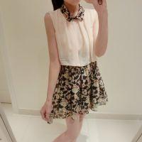 14年夏装新款日系甜美假两件套印花碎花小翻领雪纺连衣裙背心裙