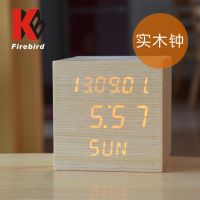实木LED台钟 电子显示钟表 礼品工艺钟 可定制LOGO厂家批发