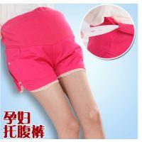 新款孕妇装 孕妇托腹裤 彩色短裤 花边五分裙裤 QFK06 一件代发