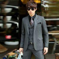 新郎结婚礼服韩版修身小西装男士西服套装休闲正装三件套