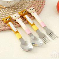轻松熊 叉子勺子不锈钢餐具套装 儿童餐具 单个价