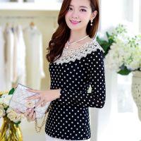 2014秋装新款修身波点上衣长袖网纱蕾丝打底衫