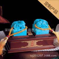批发玉石龙凤印(绿松石)、书形印泥盒、印章摆件