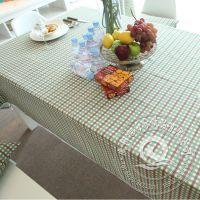 活性印染绿色时尚格子桌布 厂家直销定做家纺餐厅桌布