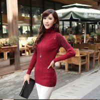 韩版时尚修身不起球拼接纯色打底衫高领针织毛衣中长款女微信代理