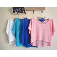 夏季韩版新款 百搭显瘦宽 松大码弹性罩衫t恤短款打底衫女