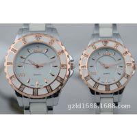 玫瑰色白色手表时尚情侣手表 商务休闲手表淘宝热卖款