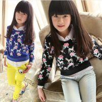 春款童装 新款女中大童打底衫韩版儿童假两件衬衫领长袖t恤 童T恤