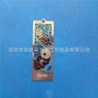 金属书签定制 不锈钢腐蚀镂空书签 熊猫书签订制 书签制作厂家