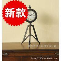 厂家直供!创意复古金属三脚架座钟装饰钟表工艺钟批发