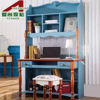 爱尚妮私地中海书桌 书架 书柜组合 直角家用电脑桌 实木书桌3001