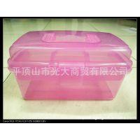 多色双层透明塑料储物收纳渔具工具箱