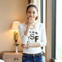 2014秋冬韩版新款 女式字母钉珠印花加大码长袖圆领t恤打底衫女