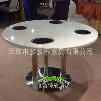 电磁炉火锅桌 不锈钢脚圆形火锅桌 无烟火锅桌