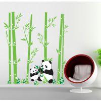 三代可移除墙贴 卧室客厅电视墙自粘墙纸 熊猫吃竹叶贴纸JM7169
