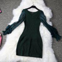 欧洲站2014秋冬新款欧美复古针织毛衫灯笼袖性感打底长袖连衣裙