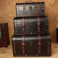 爆款热卖复古手提箱 黑色鳄鱼纹皮革复古木箱 摄影道具木质手提箱