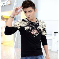 厂家直销2014秋季霸气长袖T恤中国风潮男龙图案纹身印花长袖T恤