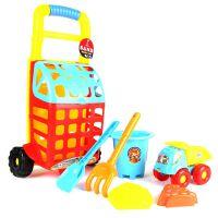 热销沙滩玩具儿童玩沙子工具小车沙桶套装 挖沙拖车6件套装批发