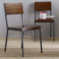 美式乡村实木高靠背餐椅 铁艺快餐餐厅家具椅子 仿古办公椅单椅