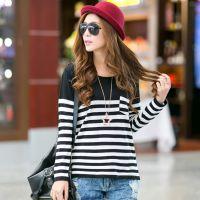 2014秋季毛衣新款韩版针织衫条纹领修身口袋套头时尚女打底衫