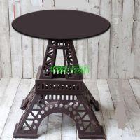 定做拍摄道具桌 巴黎铁塔咖啡桌 圆桌复古怀旧特色酒吧户外庭院桌