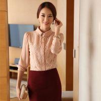 2014秋装新款  翻领打底衫 韩版蕾丝衫 长袖 女装批发