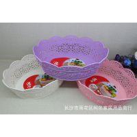 遇尚多用收纳篮水果零食办公用品果盘礼品促销椭圆镂空花朵盘