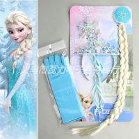 Frozen冰雪奇缘艾莎公主皇冠头饰四件套(皇冠+辫子+雪花棒+手套)