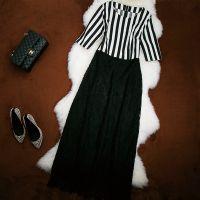 欧美气质拼接竖条纹打底连衣裙蕾丝裙秋冬新款收腰七分袖长裙6751
