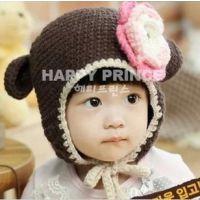 婴幼儿童大花朵编织帽 手工护耳帽 毛线帽 保暖帽2色YM13042