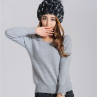 2014新款秋冬装低圆领女式冰山雪貂女士针织貂绒恒源祥羊绒打底衫