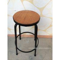 美式实木铁艺吧台椅子 酒吧吧台凳 前台办公椅