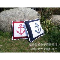 地中海风格指南针抱枕 船锚抱枕、靠枕、沙发靠垫 45公分(含芯)