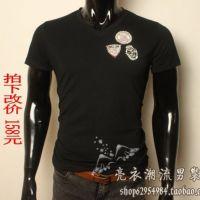 供应全球购男品牌男装欧美明星奢华 男士短袖t恤徽章修身高端打底衫