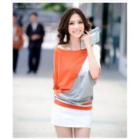 新款韩版女装拼色纯棉蝙蝠衫复古OL圆领T恤上衣