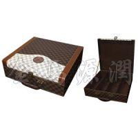 豪华格纹四支装皮箱(仿红木酒盒,皮酒盒,皮酒箱,双支酒盒,木箱,皮盒)