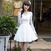 秋季新款女装钉珠连衣裙修身气质蕾丝连衣裙打底裙批发一件代发