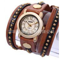 皮革编织绳手链式手表超长表带女表 时尚复古手链表