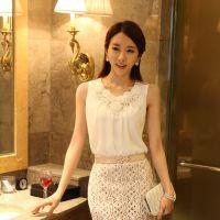 韩国代购2014春装无袖背心吊带打底衫雪纺衫女一件代发