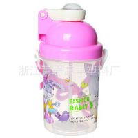 批发供应正品迪士尼带吸管送提升380ml儿童吸管水壶
