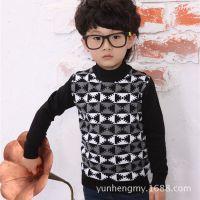 厂家直销 欧美波普图案男童针织衫 中大童打底衫童装批发A9471